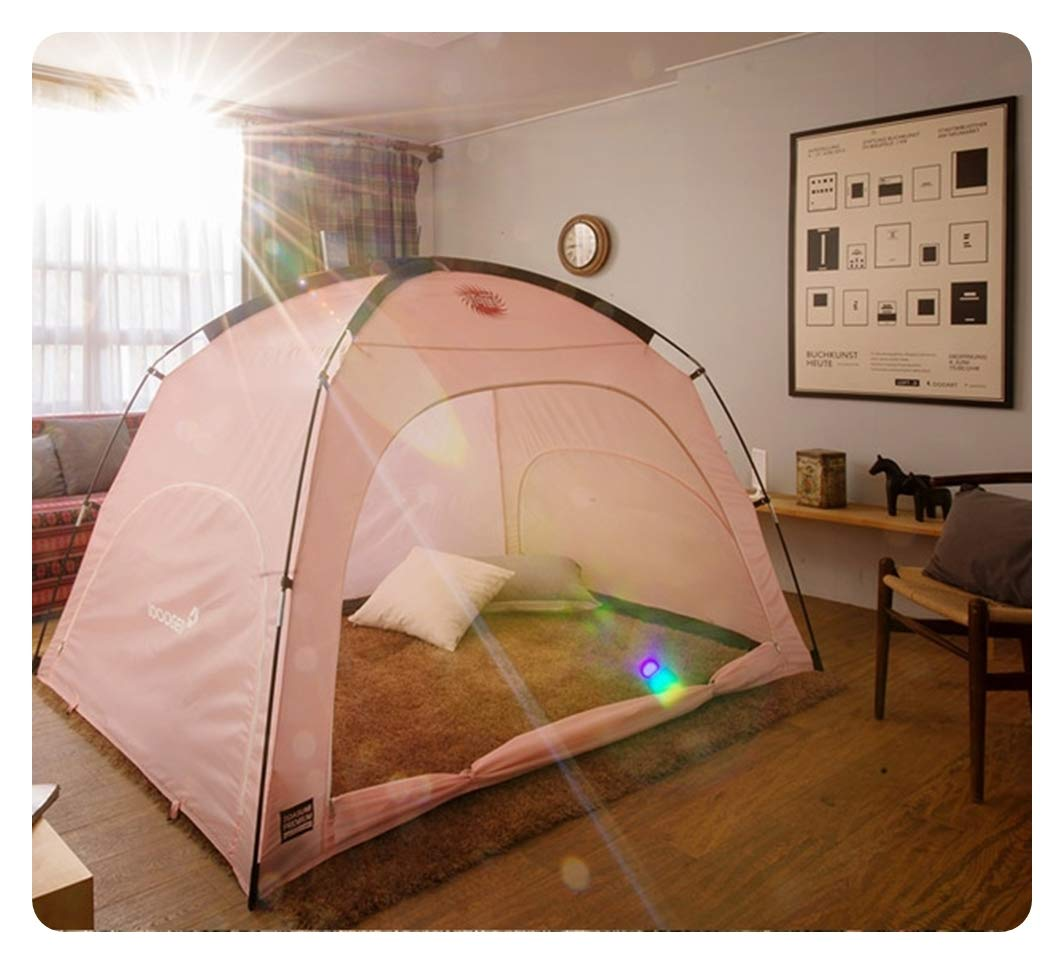 DDASUMI Warm Tent for Double Bed without Floor (Pink) - Blocking Cold air, Privacy, Play Indoor Tent