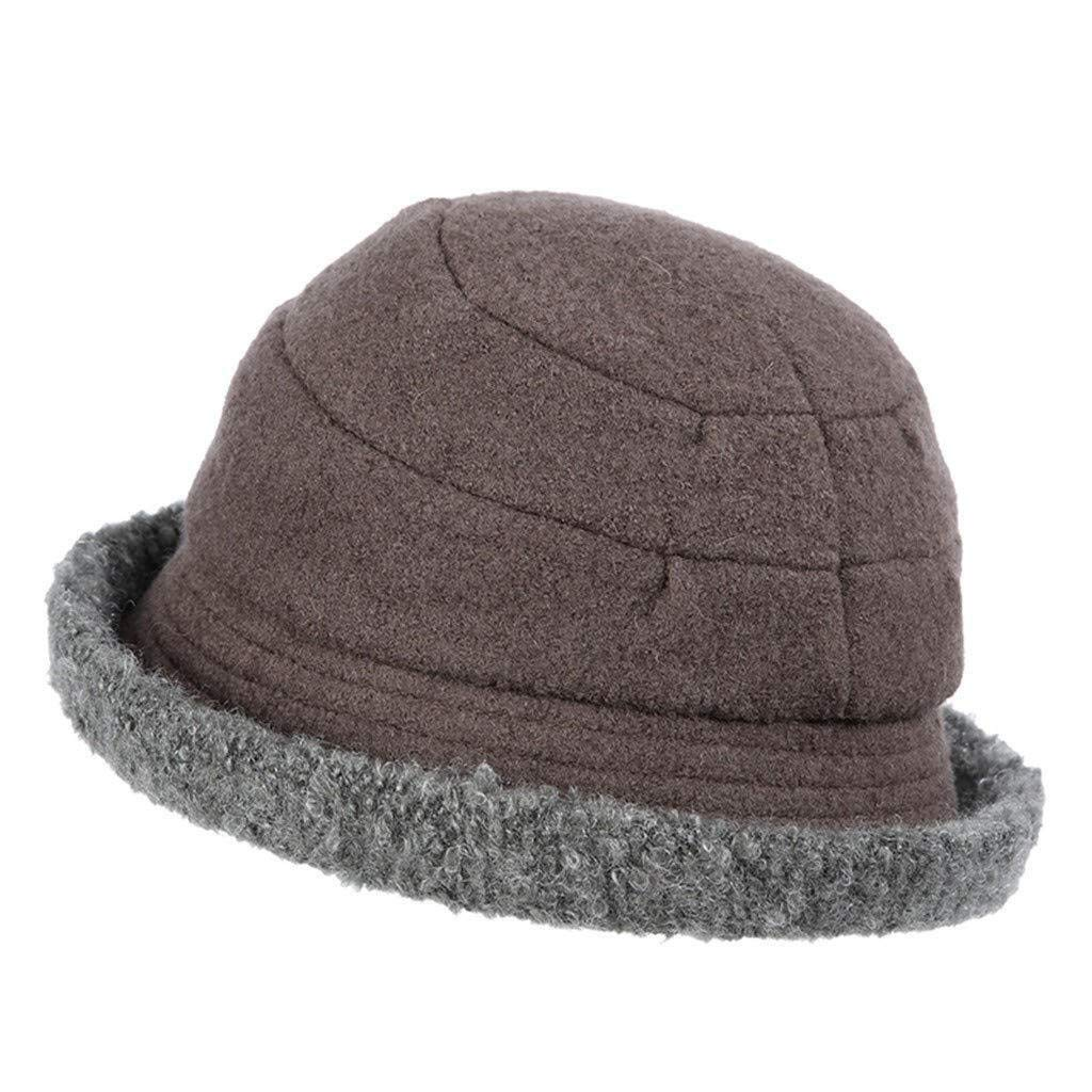 LUHEN Cloche Round Hat for Women wool Bucket Vintage Cap (Color : Grey, Size : M)