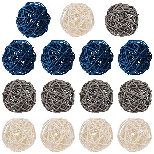 PORTOWN 15 Pcs Wicker Rattan Ball Decorative Orbs Vase Fillers Twig Ball for Wedding Party Baby Shower Christmas Decoration (Blue Gray White, 2 Inch)