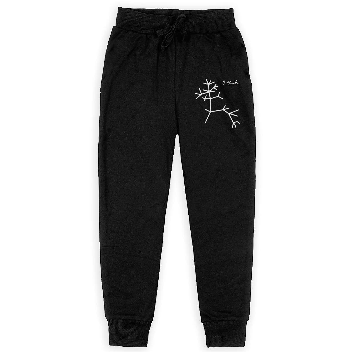 Dunpaiaa Darwin I Think Tree Boys Sweatpants,Joggers Sport Training Pants Trousers Black