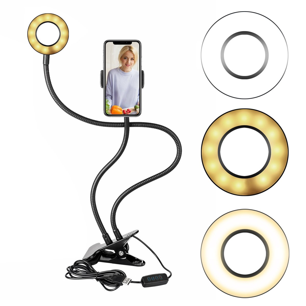 Dimmable Selfie Ring Light with Cell Phone Holder Stand for Live Stream[3-Light Mode][9-Level Brightness], Gooseneck LED Fill In Light Phone Holder for Youtube, Facebook, iPhone X/8/7,6/plus,Samsung
