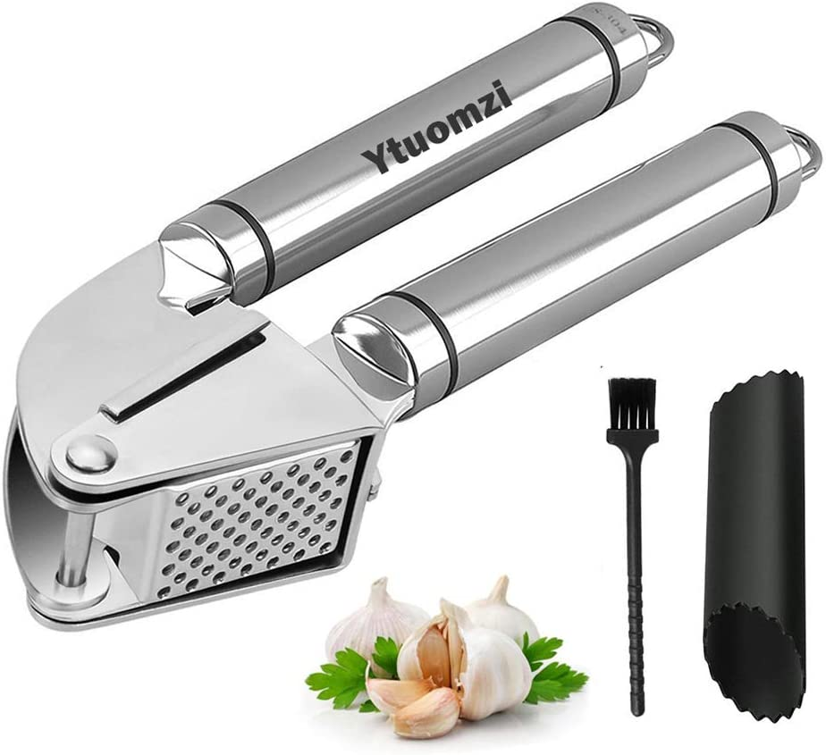 Garlic Press Stainless Steel Garlic Mincer Peeler Set Professional Garlic Masher Tool Ginger Presser/Cutter/Squeezer/Cuber/Chopper with Silicone Tube Roller and Cleaning Brush