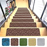 Indoor Stair Mats | Set of 7 | Brown 9'x26' | Ultra-Thin Microfiber Stair Carpet with Slip-Resistant Rubber Backing | Washing Machine Safe | Quick and Easy to Install | Premium Quality