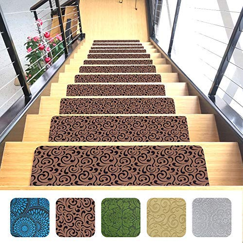 """Designer Indoor Stair Mats, Ultra-Thin Microfiber Stair Carpet with Slip-Resistant Rubber Backing to Reduce Slipping Risk - Quick and Easy to Install- Premium Quality (9""""x26"""", Brown, Set of 7)"""