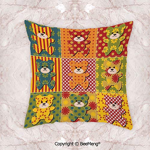 Square Throw Pillow waist cushion,Cabin Decor,Colorful Kids Room Pattern With Patchwork Style Teddy Bears Cute Funny Childish Decorative,Multicolor,19.6x19.6 Inch,Soft and comfortable Healthy Kids Roo ()