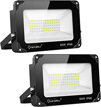 Onforu 60W Foco LED Exterior (2 Pack) 6600LM Super Potente ...