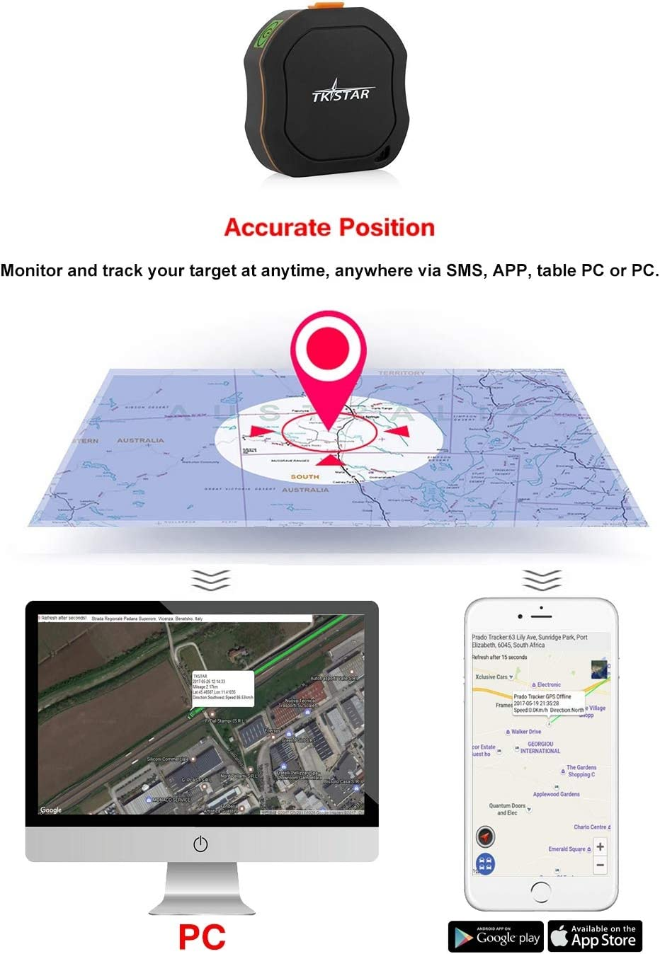 Personal GPS Tracker Waterproof /& SOS Emergency for Kids Adults Elderly Pet Car Vehicle Bike Assets Mini Portable GPS Tracker Tracking Device Real Time Vehicle GPS Tracker TK1000