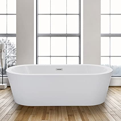 Woodbridge Freestanding Bathtub, 100% Acrylic Bath Tub, High Glossy White,  With Brushed