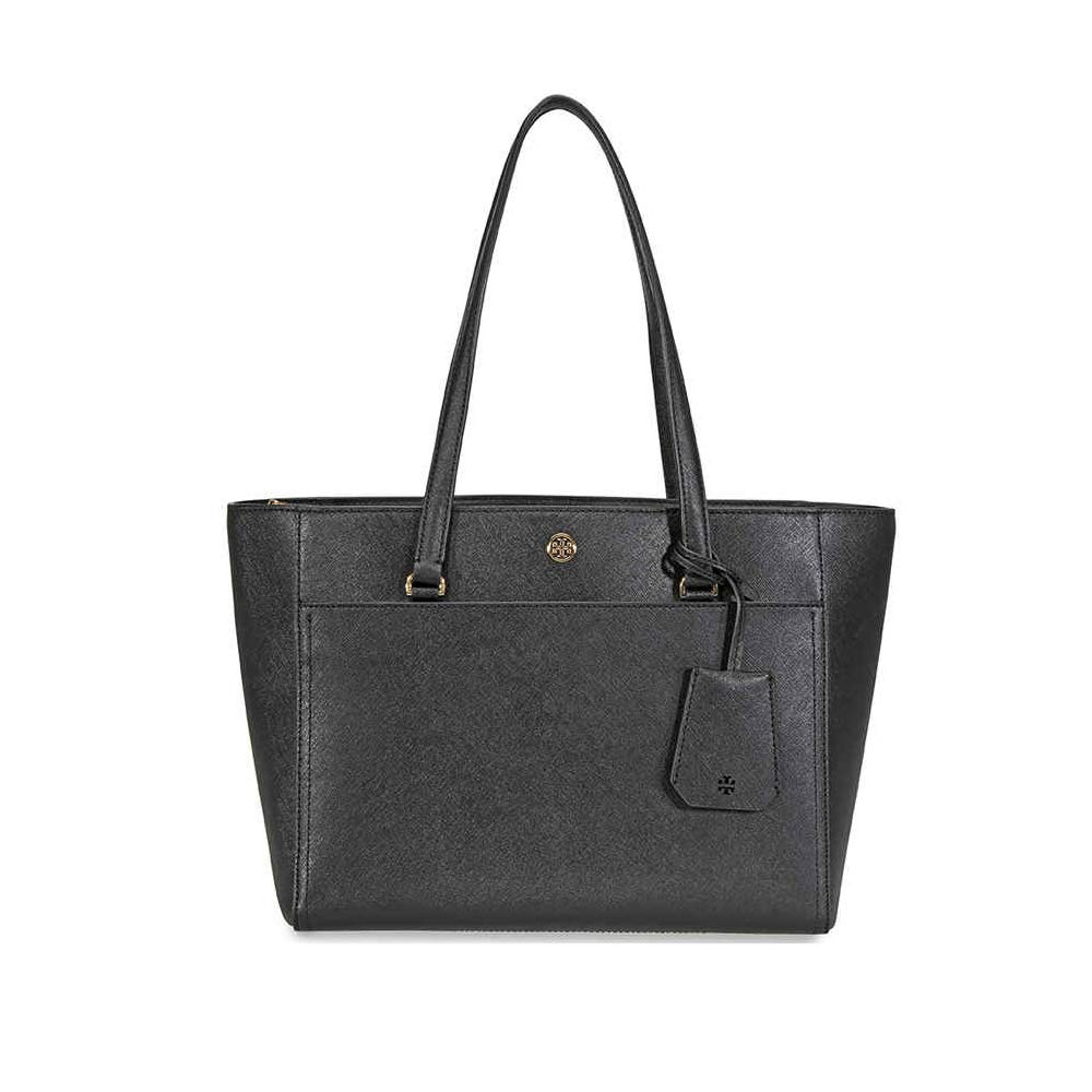 ae9a9611c7 Amazon.com: Tory Burch Women's Robinson Small Tote, Black/Royal Navy, One  Size: Shoes