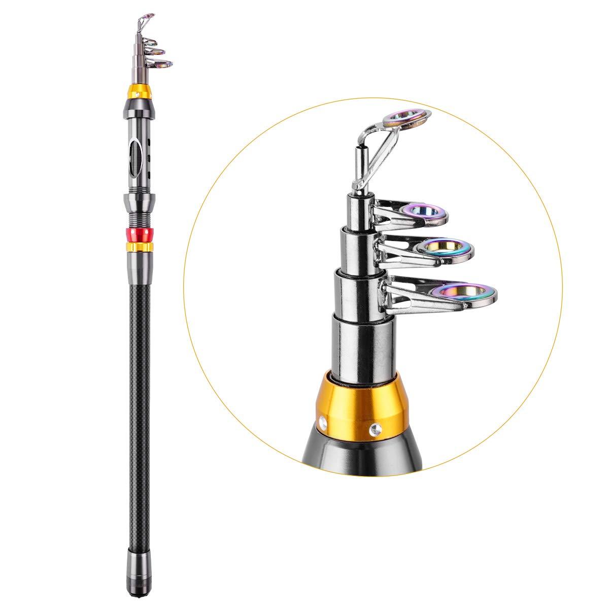 FishOaky Telescopic Fishing Rod, 2.1M Carbon Fiber Telescopic Spinning Fishing Pole for Saltwater & Freshwater | Kids & Adults | Boat, Surf, Lake