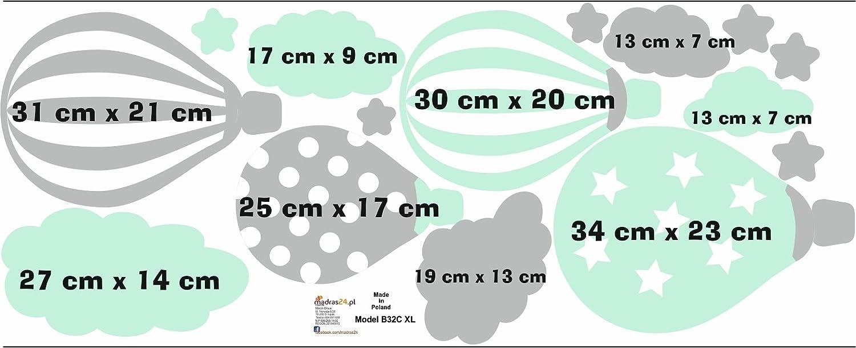 madras24 Etiqueta de la Pared Pegatinas de Pared Pegatinas para ni/ños Globo Globos Nubes Nube Habitaci/ón para ni/ños sal/ón jard/ín de la Infancia Escuela decoraci/ón Sala de Estar B32A XL