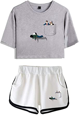 Imagen deHUASON Camisetas Tops Shorts Verano Traje de Ropa Deportiva Casual para Niñas y Mujeres Top Corto Pantalón Corto