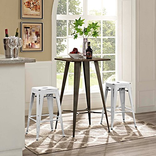 Modern Urban Industrial Distressed Antique Vintage Counter Stool Chair ( Set of 2), White, Metal by America Luxury - Stools (Image #1)