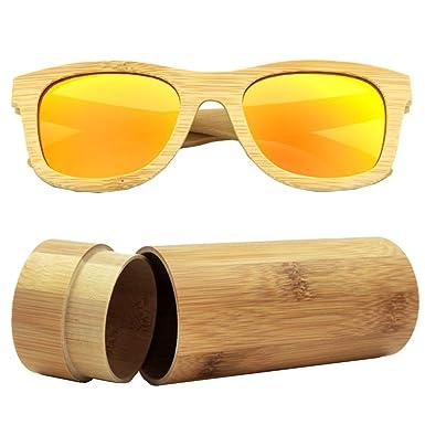 iSunHot 1-Pack Gafas de sol de Madera de Bambú con Naranja Lente Polarizada de