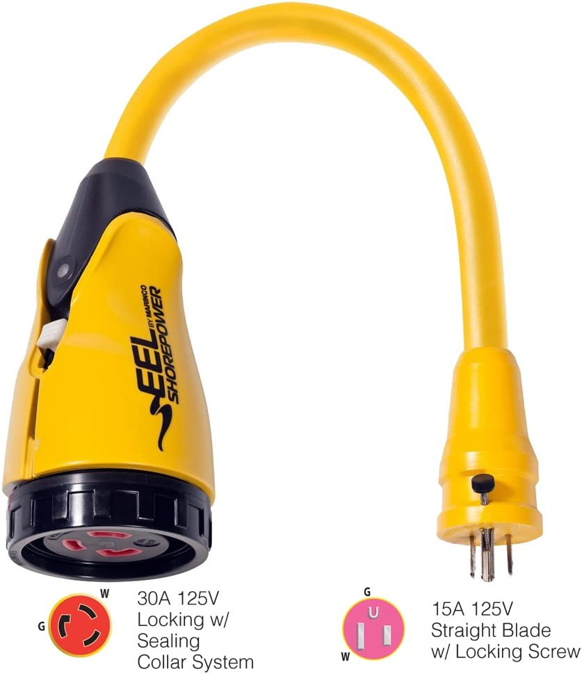 Yellow Marinco P15-30 EEL 30A-125V Female to 15A-125V Male Pigtail Adapter