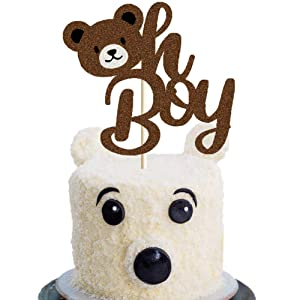 Bear Oh Boy Cake Topper Lumberjack It's a Boy Cake Decor Woodland Camping Wild Bear Head Themed Gender Reveal/It's a Prince/Baby Shower Party Cake Supplies Decorations