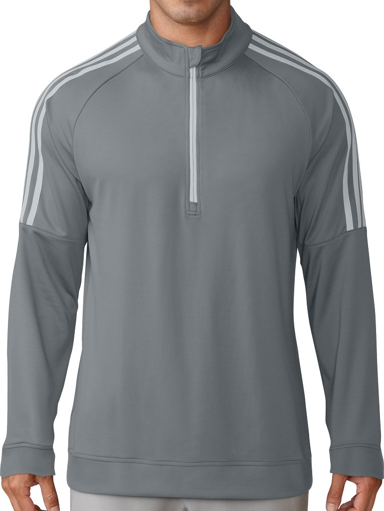adidas Golf Men's Classic 3-Stripe 1/4 Zip Pullover, Grey Three, Small