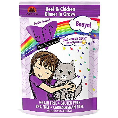 Chicken Base Recipes - Weruva B.F.F. OMG - Best Feline Friend Oh My Gravy!, Booya! Beef & Chicken in Gravy Cat Food by, 2.8oz Pouch (Pack of 12)