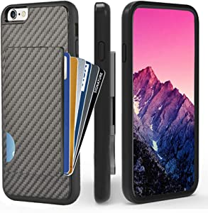 ZVEdeng iPhone 6 Wallet Case, iPhone 6s Card Holder Case, Shockproof iPhone 6 Credit Card Case with Carbon Fiber Design Slim Protective Wallet Cover for Apple iPhone 6 and iPhone 6s 4.7 Inch Black