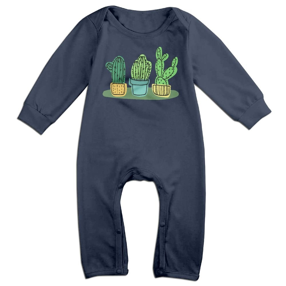 Mri-le1 Baby Boy Girl Long Sleeve Jumpsuit Cacti Cactus Baby Rompers