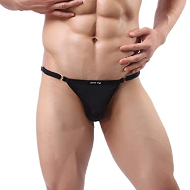 9fa558b0f1fb Panegy Men's Nylon G-String Stretch Elastic Bikini (Black, One Size ...