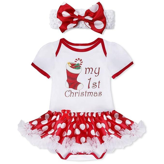 TIAOBU bebé niñas Navidad trajes Pelele vestido de tutú cinta para la cabeza calentadores zapatos de Navidad Fiesta Disfraz - -: Amazon.es: Ropa y ...