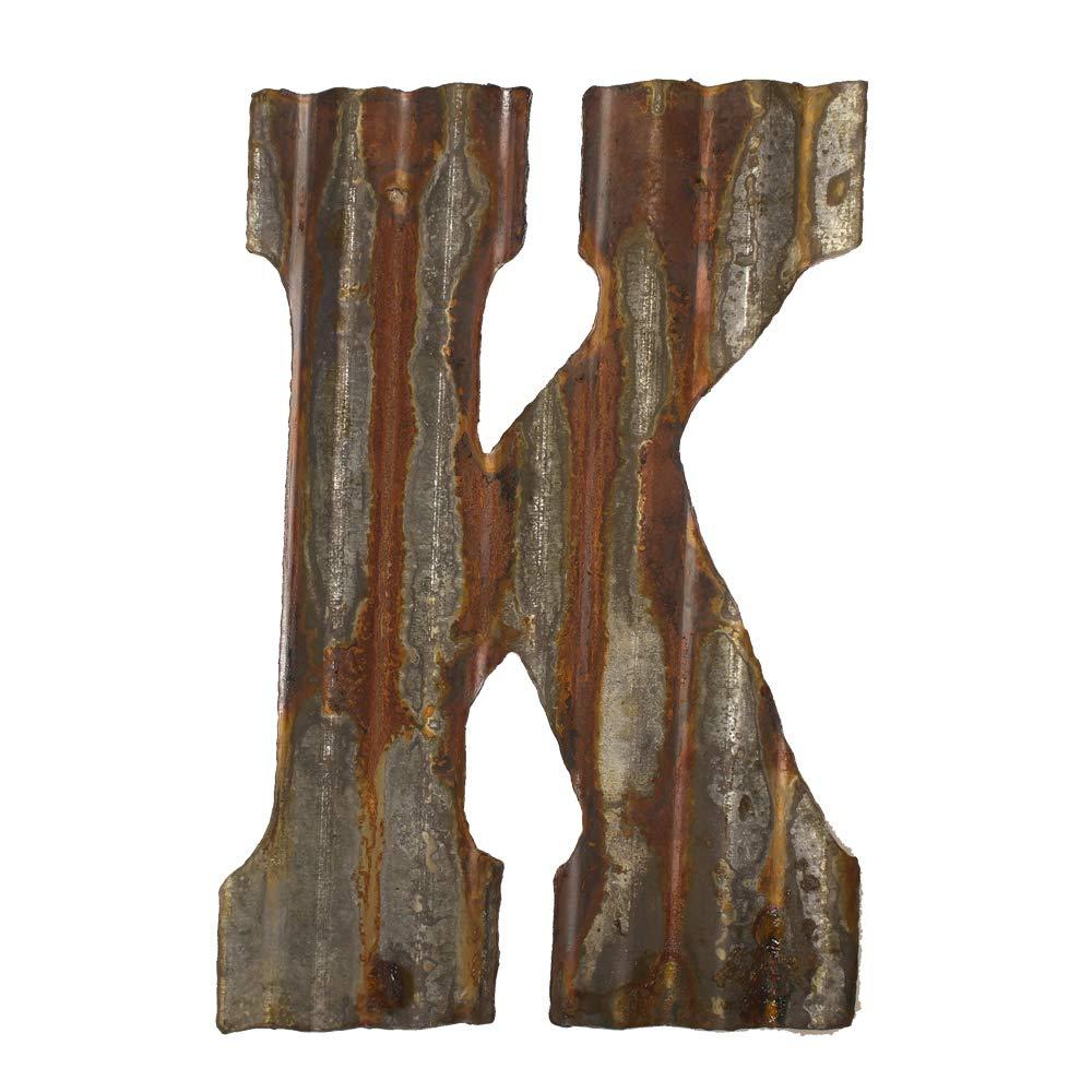"Farmhouse Rustic 12"" Wall Decor Corrugated Metal Letter -K"