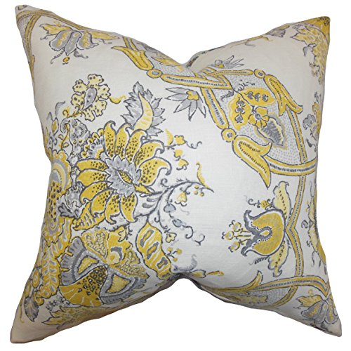 The Pillow Collection P20-d-sissy-jonquil-l100 Laelia Floral Pillow, Yellow, 20