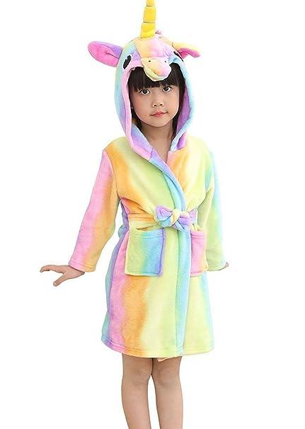 2ee4b734bee59 Amazon.com: Mobarta Kids Unicorn Hooded Robe Coral Fleece Sleepwear Soft  Pajamas Comfy Sleep Robe Bathrobe for Boys and Girls: Clothing