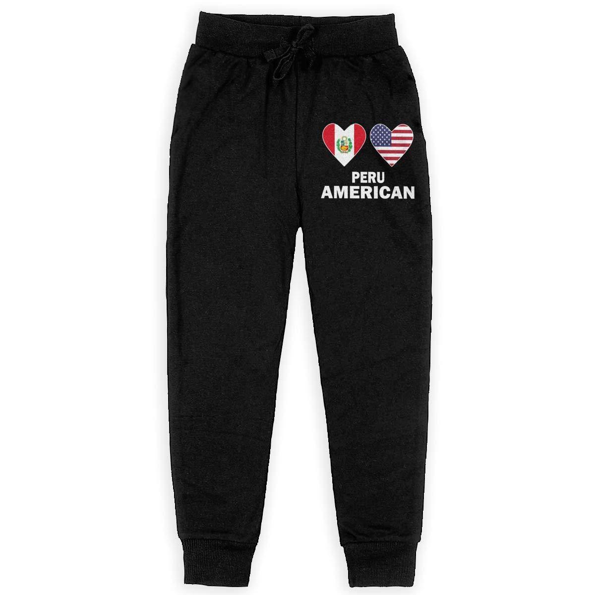 Teenager Active Pants Teenager Girls WYZVK22 Peru American Hearts Soft//Cozy Sweatpants