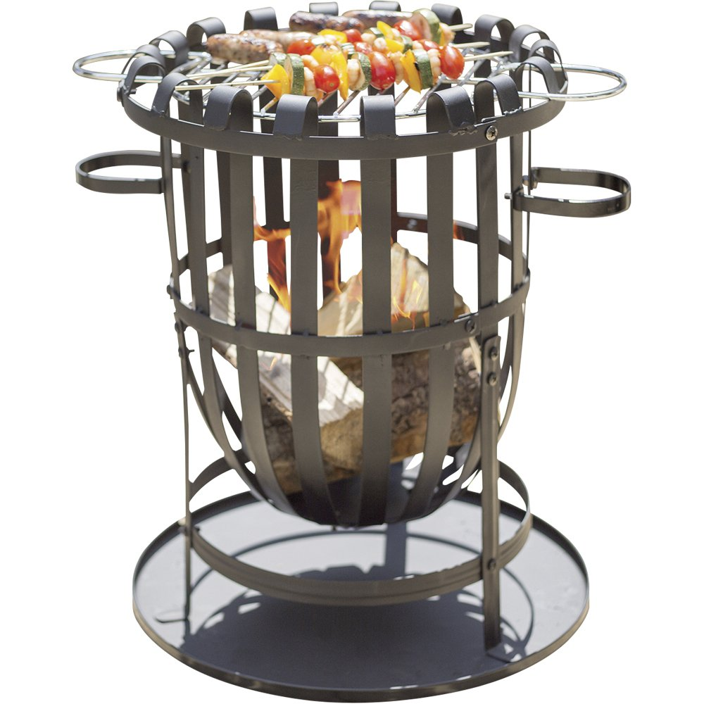 Clifford James Buenavista Steel Brazier Fire Basket Patio Heater, Wood Burner/Charcoal Burner BBQ Grill Set Ash Pan Accessories Garden Open Fires, Patio Cooking Fire Pit