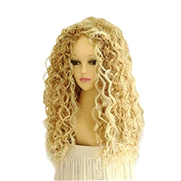 HEART SPEAKER Gemini_mall Womens Fashion Long Mix Blonde Wavy Wig Sexy Curly Natural Hair Cosplay Wigs