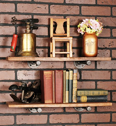 Rustic Pipe Decor Industrial Shelf Brackets - Set of Four, Industrial Steel Grey Iron Fittings, Flanges and Pipes for Hanging Custom Floating Shelves, Wall Mounted Bracket, 10 Inch (4 Brackets Only) 4