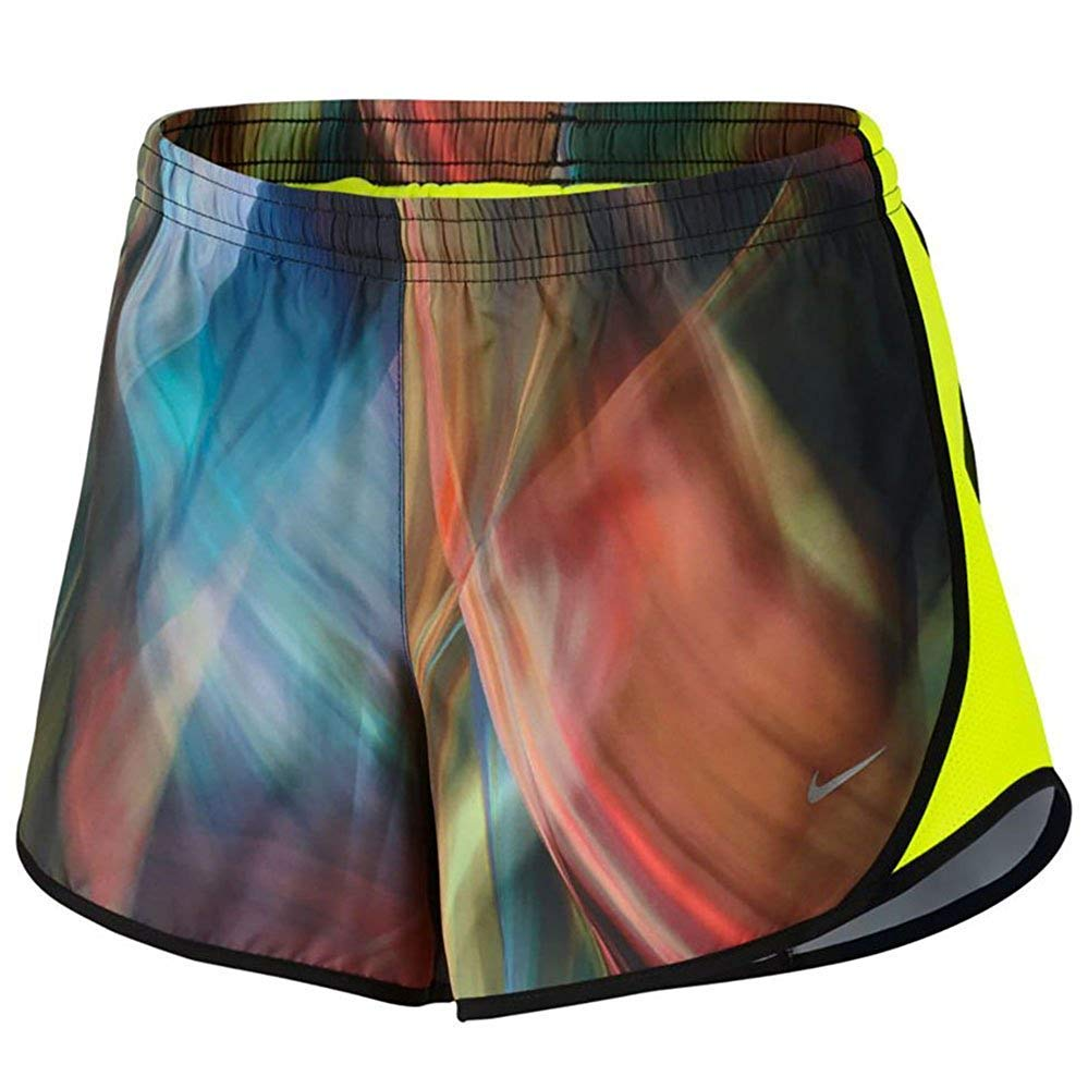 Nike Girl`s Dry Tempo Running Shorts (Volt Green (902101-701)/Black/Volt Green, X-Small)