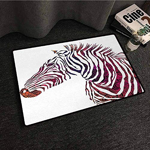 (DILITECK Printed Door mat Animal Ornamental Zebra Profile Silhouette Artistic Striped Safari Theme Artwork Machine wash/Non-Slip W35 xL59 Purple Pink Coral)