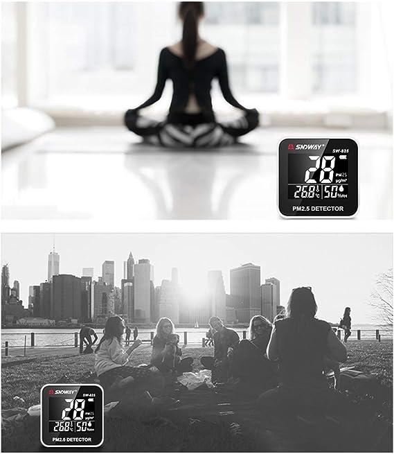 SW-825 Uso en el hogar USB Probador de calidad del aire Detector port/átil PM2.5 Medidor de humedad//temperatura Detector de aire