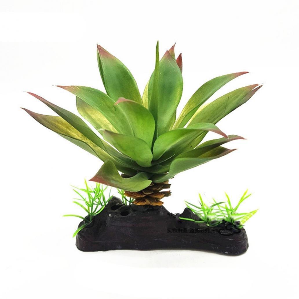 Greenlans Planta artificial verde hierba plantas de agua para reptil tortuga pecera acuario decoración adorno plástico submarino: Amazon.es: Productos para ...