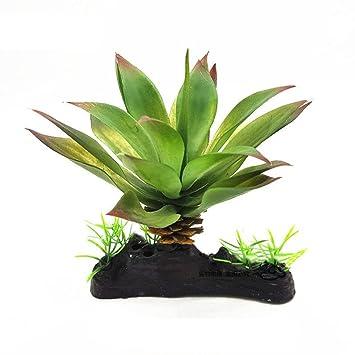 Greenlans Planta artificial verde hierba plantas de agua para reptil tortuga pecera acuario decoración adorno plástico