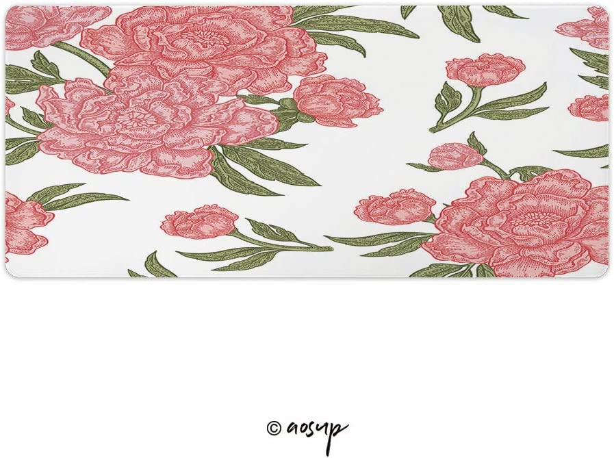 Hand Drawn Creative Flower Artistic B Gaming Mouse Anti-Slip Rubber Mousepad for Laptop 23.6 x 11.8 NO-01432 Homenon Large Gaming Mouse Pad Locking Edge Mouse Mat Floral Seamless Pattern