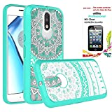 Moto G4 / G4 Plus Clear Case with HD Screen Protector,[Not fit G4 Play],AnoKe [Scratch Resistant] Colorful Totem Mandala Flower For Motorola Moto G 4th Gen / G Plus 4th Generation CH TM Mint