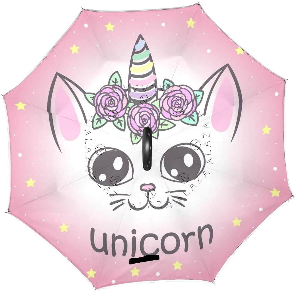 ATONO Cute Unicorn Cat With Stars Double Layer Inverted Reverse Folding Stick Umbrellas Windproof Anti-UV C-Shaped Handle for Car Rain Outdoor