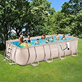 Light Wicker Pool Package 9'x18' Rect Metal Frame 52'' Deep | Summer Waves NB2233