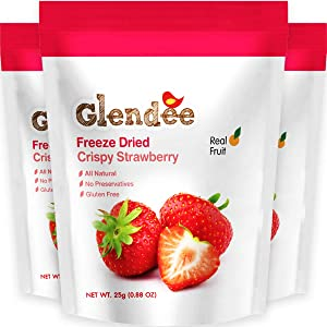 Freeze Dried Strawberry, Crispy Strawberry, 100% Real Fruit Snack, Crunchy & Naturally Whole Dried Strawberry, Healthy Snacks for Kids and Adults, 3 x 0.88 Oz Packs