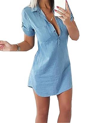 7277afc20c75 Femme Shirt Robe en Denim avec Manches Courtes Chemisier Top Jean   Amazon.fr  Vêtements et accessoires