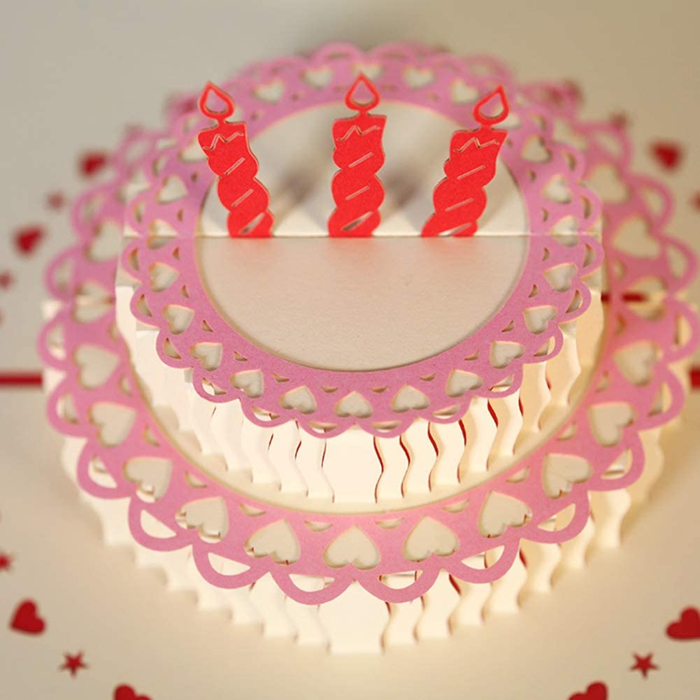 Birthday Card 3d Birthday Cake Pop Up Card Greeting Card for Birthday Holiday Use