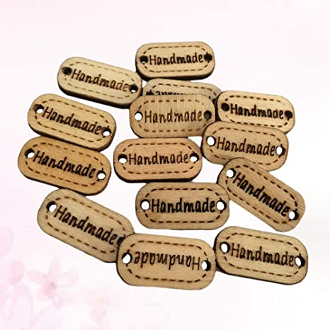 Wood Knitting product Tags- Buttons Wooden sew on labels craft Crochet
