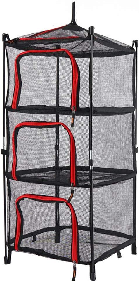 Lzww Red de Secado Cesta Colgante de 3 Capas con Cierre de Cremallera, Accesorios de Toldo Plegable de Malla Colgantes Secadora Rack Acampar Al Aire Libre,Rojo