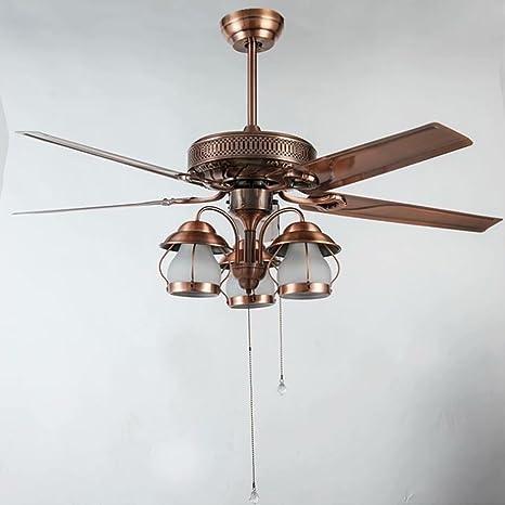 Led decorativo ventilador de techo europeo bronce rojo hoja ...