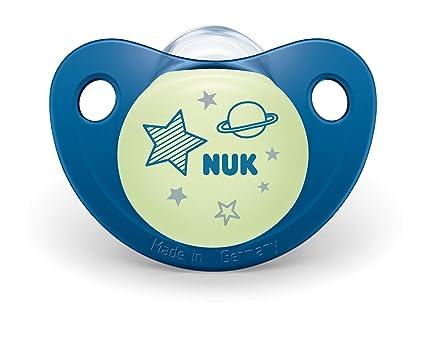 NUK 10176226 Night & Day - Chupete de silicona (forma adaptada a la mandíbula, 6-18 meses, 2 unidades), color azul