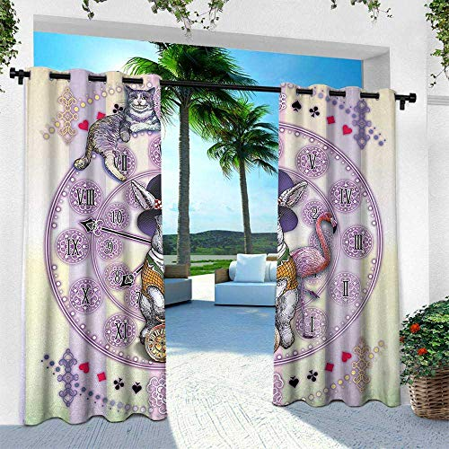 Hengshu Animal, for Front Porch Covered Patio Gazebo Dock Beach Home,Alice in Wonderland Rabbit and Cat Fiction Story Novel Child Display Story, W96 x L108 Inch, Lilac Pale -